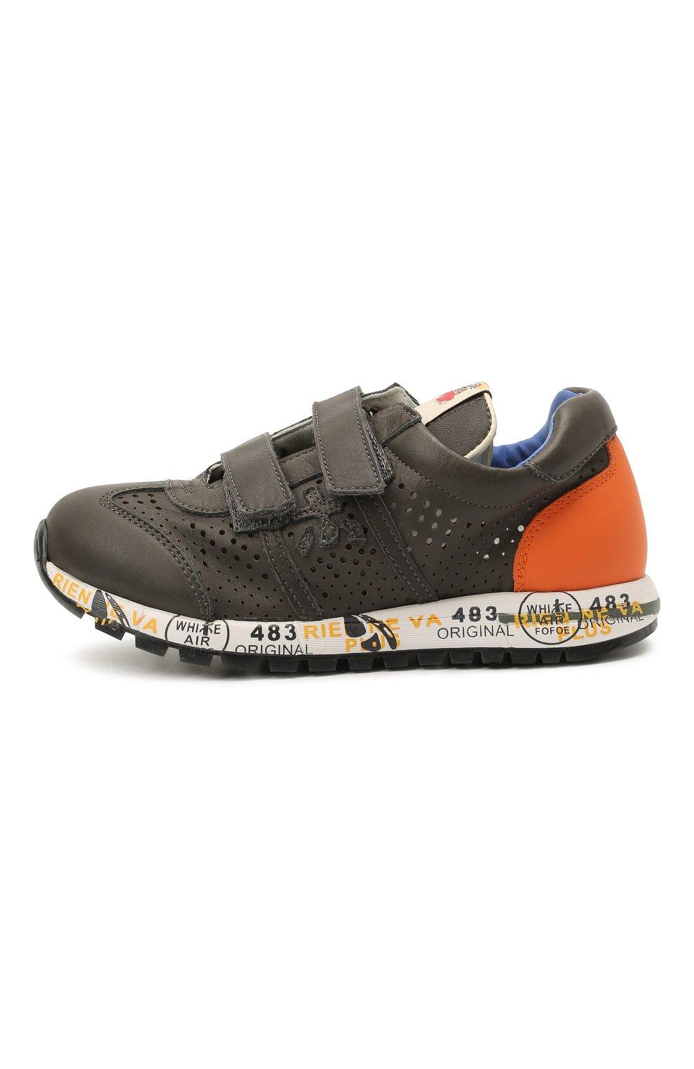Детские кожаные кроссовки PREMIATA WILL BE серого цвета, арт. LUCY V/12-21462/CHILD | Фото 2 (Материал внутренний: Натуральная кожа)