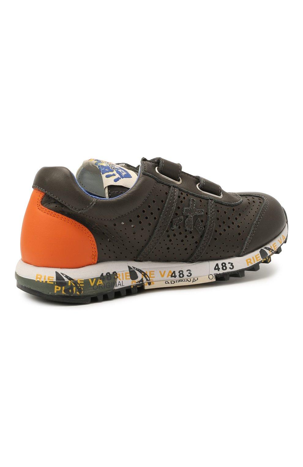 Детские кожаные кроссовки PREMIATA WILL BE серого цвета, арт. LUCY V/12-21462/CHILD | Фото 3 (Материал внутренний: Натуральная кожа)
