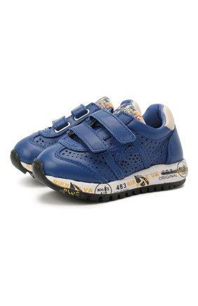 Детские кожаные кроссовки PREMIATA WILL BE синего цвета, арт. LUCY V/12-21521/T0D | Фото 1 (Материал внутренний: Натуральная кожа; Кросс-КТ: велькро)