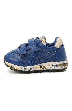 Детские кожаные кроссовки PREMIATA WILL BE синего цвета, арт. LUCY V/12-21521/T0D | Фото 2 (Материал внутренний: Натуральная кожа; Кросс-КТ: велькро)