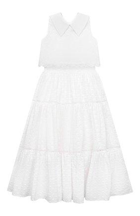 Детское хлопковое платье DESIGNERS CAT белого цвета, арт. 100000K01000739/10A-12A | Фото 1