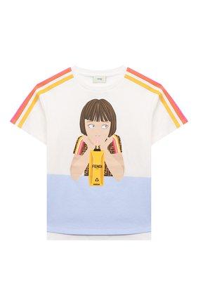 Детская хлопковая футболка FENDI белого цвета, арт. JFI221/7AJ/3A-6A | Фото 1