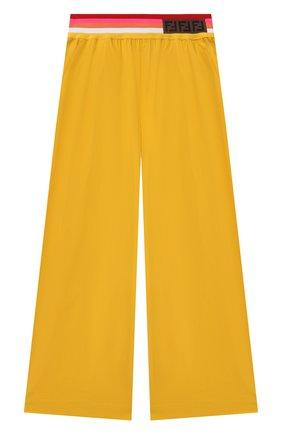Детские хлопковые брюки FENDI желтого цвета, арт. JFF225/AAC3/8A-12+ | Фото 1