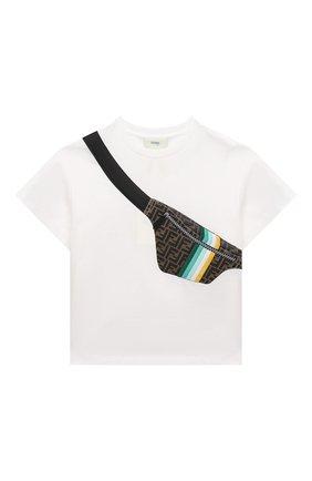 Детская хлопковая футболка FENDI белого цвета, арт. JMI333/7AJ/3A-6A   Фото 1