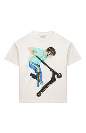 Детская хлопковая футболка FENDI белого цвета, арт. JMI358/7AJ/3A-6A   Фото 1