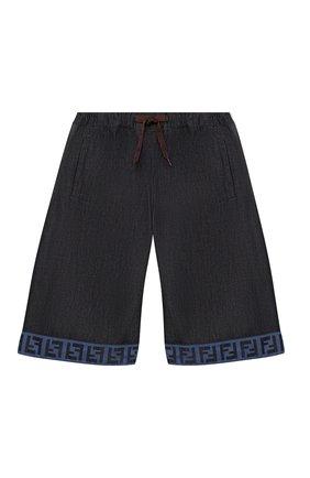 Детские хлопковые шорты FENDI темно-синего цвета, арт. JUF034/AEY4/3A-6A   Фото 1