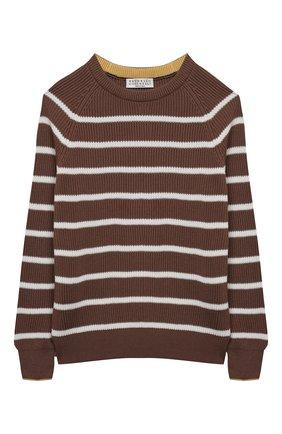Детский хлопковый пуловер BRUNELLO CUCINELLI коричневого цвета, арт. B29M11600A | Фото 1
