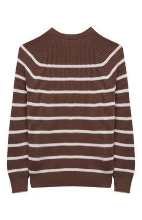 Детский хлопковый пуловер BRUNELLO CUCINELLI коричневого цвета, арт. B29M11600A | Фото 2