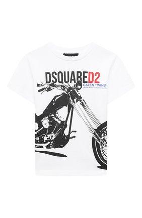 Детская хлопковая футболка DSQUARED2 белого цвета, арт. DQ0154-D00MQ | Фото 1