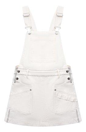 Детское джинсовый сарафан DIESEL белого цвета, арт. J00040-0TATF | Фото 1