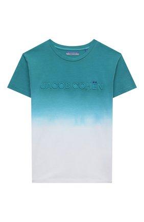Детская хлопковая футболка JACOB COHEN бирюзового цвета, арт. J4018 J-80003-V   Фото 1
