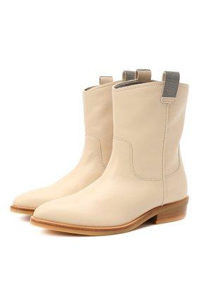 Детские кожаные ботинки BRUNELLO CUCINELLI бежевого цвета, арт. BZMBGZG034   Фото 1 (Материал внутренний: Натуральная кожа)