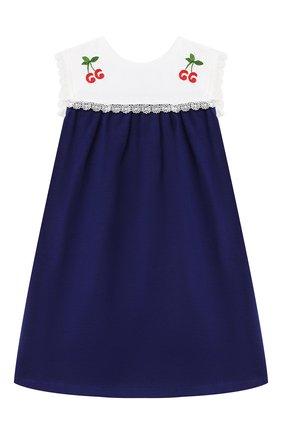 Женский хлопковое платье GUCCI синего цвета, арт. 642713/XJDAL | Фото 1
