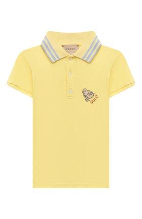 Детский хлопковое поло GUCCI желтого цвета, арт. 638464/XJC39 | Фото 1