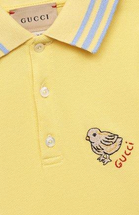 Детский хлопковое поло GUCCI желтого цвета, арт. 638464/XJC39 | Фото 3