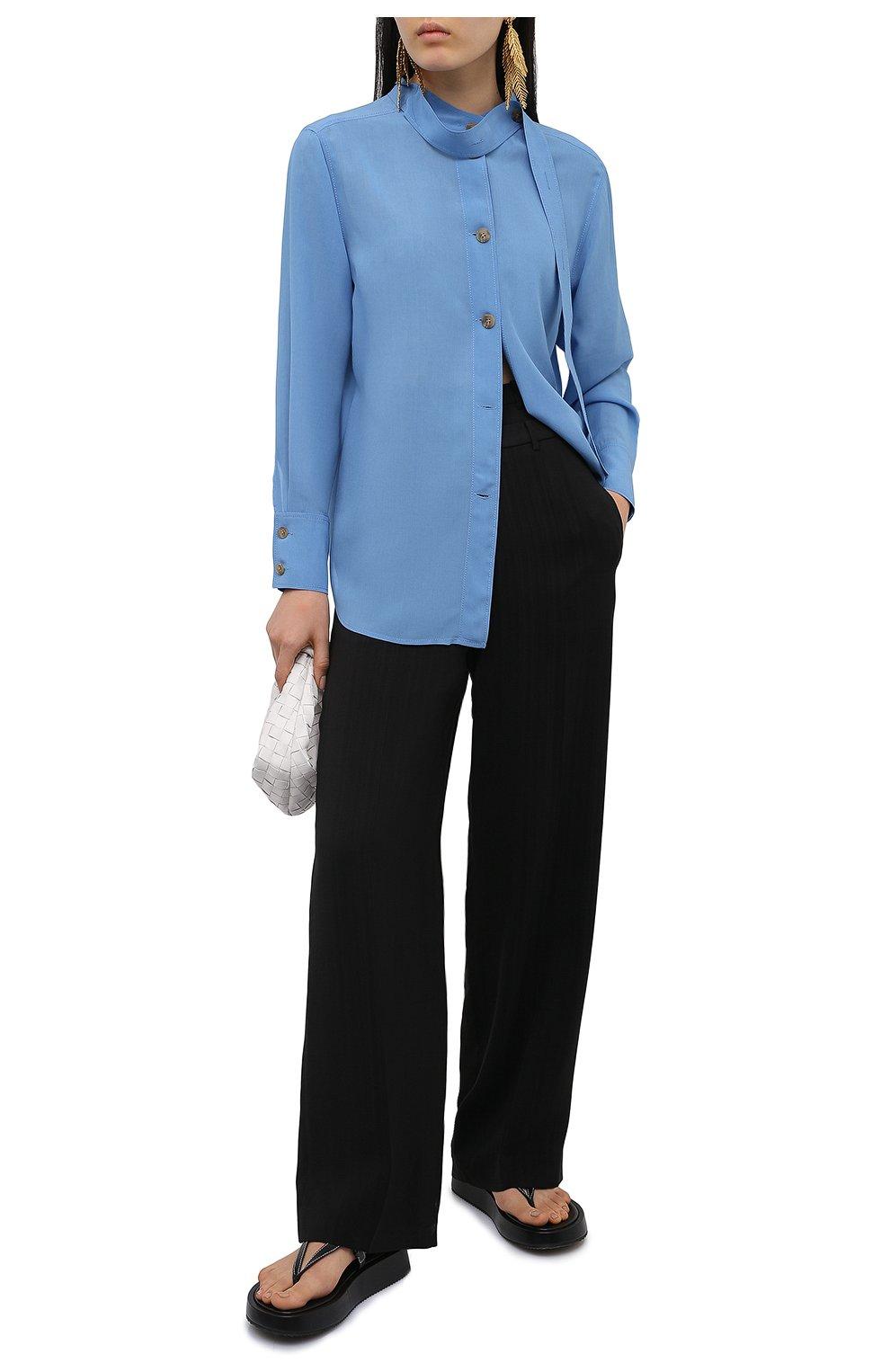 Женские брюки из вискозы REJINA PYO черного цвета, арт. E140/VISC0SE   Фото 2 (Длина (брюки, джинсы): Стандартные; Женское Кросс-КТ: Брюки-одежда; Силуэт Ж (брюки и джинсы): Прямые; Материал внешний: Вискоза; Стили: Кэжуэл)