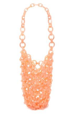Женская сумка link JIL SANDER персикового цвета, арт. JSWS856570-WSB65002   Фото 1 (Размер: mini; Сумки-технические: Сумки top-handle; Материал: Экокожа)