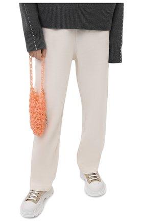 Женская сумка link JIL SANDER персикового цвета, арт. JSWS856570-WSB65002   Фото 2 (Размер: mini; Сумки-технические: Сумки top-handle; Материал: Экокожа)