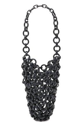 Женская сумка link JIL SANDER серого цвета, арт. JSWS856570-WSB65002   Фото 1 (Размер: mini; Сумки-технические: Сумки top-handle; Материал: Экокожа)