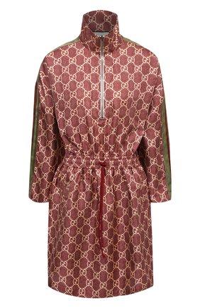 Женское шелковое платье GUCCI коричневого цвета, арт. 628781/XJCL5 | Фото 1 (Рукава: Длинные; Материал внешний: Шелк; Женское Кросс-КТ: Платье-одежда; Случай: Повседневный; Длина Ж (юбки, платья, шорты): Мини; Стили: Спорт-шик)