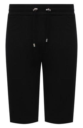 Мужские хлопковые шорты BALMAIN черного цвета, арт. VH00A003/B095   Фото 1 (Кросс-КТ: Трикотаж; Принт: Без принта; Длина Шорты М: Ниже колена; Материал внешний: Хлопок)