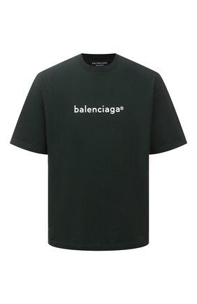 Мужская хлопковая футболка BALENCIAGA зеленого цвета, арт. 612966/TIV54 | Фото 1 (Стили: Минимализм; Принт: С принтом; Материал внешний: Хлопок; Длина (для топов): Стандартные; Рукава: 3/4)