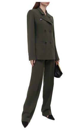 Женский жакет из вискозы LESYANEBO темно-зеленого цвета, арт. SS21/Н-108_3 | Фото 2 (Материал внешний: Вискоза; Рукава: Длинные; Длина (для топов): Стандартные; Женское Кросс-КТ: Жакет-одежда; Случай: Повседневный; Стили: Кэжуэл; 1-2-бортные: Двубортные)