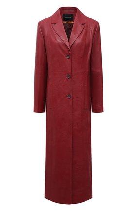 Женское пальто LESYANEBO бордового цвета, арт. SS21/Н-572/VL_1 | Фото 1 (Материал внешний: Вискоза, Синтетический материал; Рукава: Длинные; Длина (верхняя одежда): Длинные; 1-2-бортные: Однобортные; Стили: Кэжуэл)