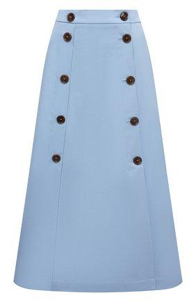Женская хлопковая юбка BOSS голубого цвета, арт. 50451674 | Фото 1