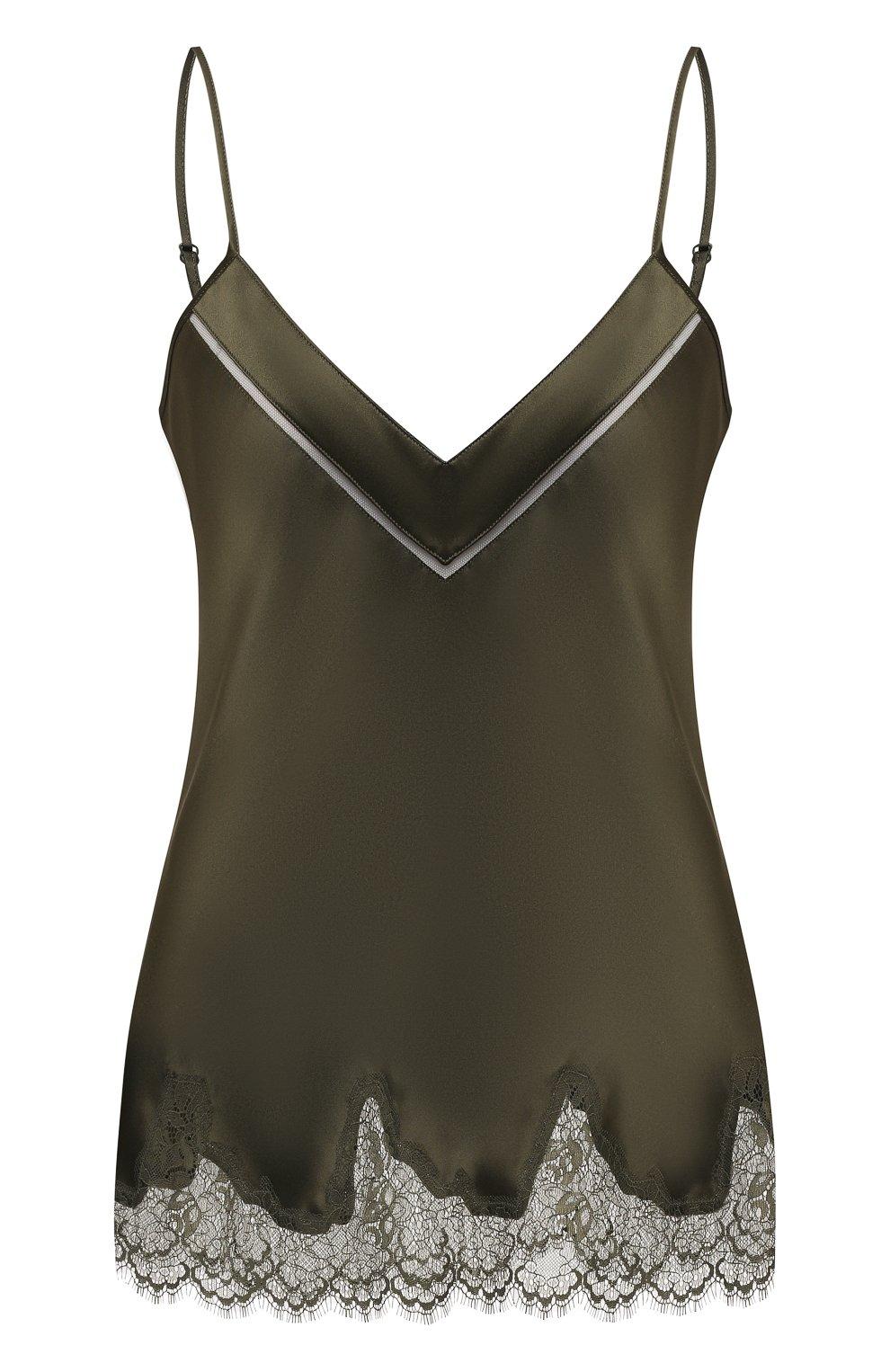 Женская шелковый топ SIMONEPERELE хаки цвета, арт. 17F900 | Фото 1