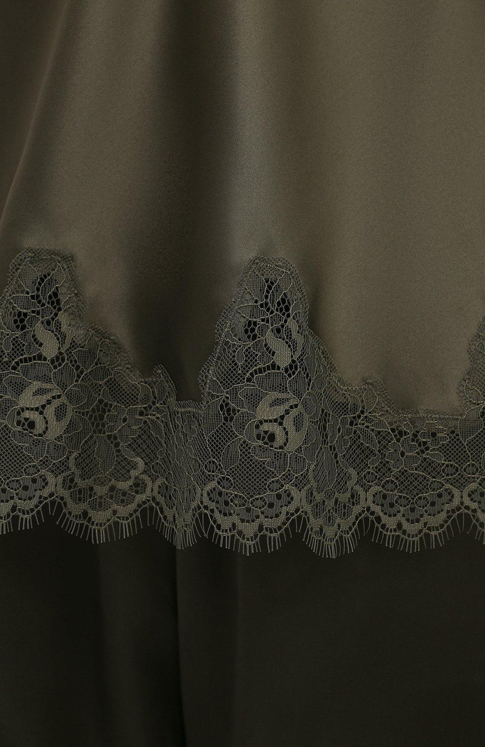 Женская шелковый топ SIMONEPERELE хаки цвета, арт. 17F900 | Фото 5