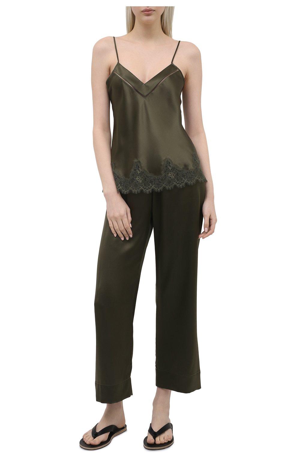 Женские шелковые брюки SIMONEPERELE хаки цвета, арт. 15B660 | Фото 2