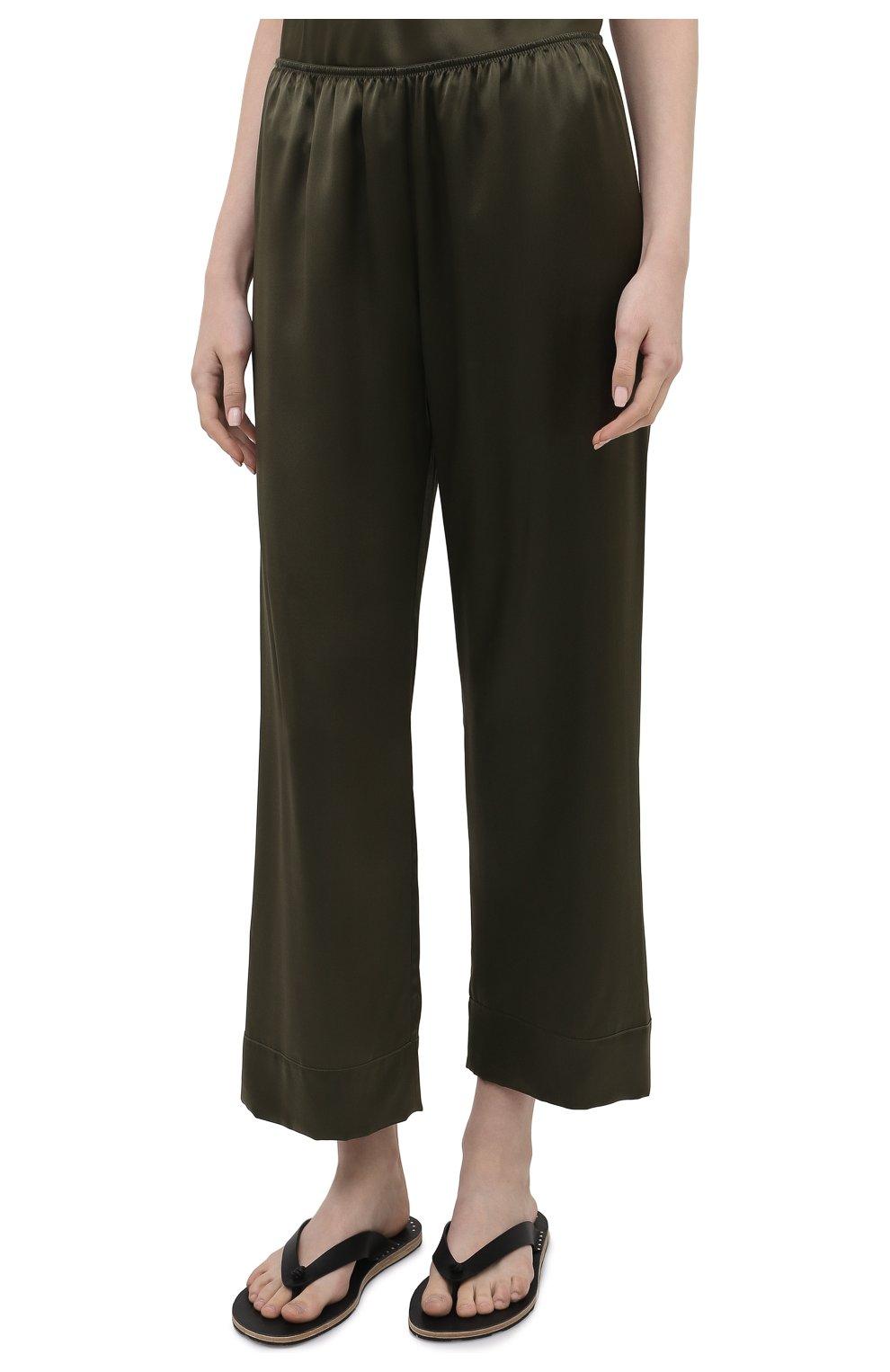 Женские шелковые брюки SIMONEPERELE хаки цвета, арт. 15B660 | Фото 3