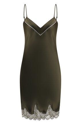 Женская шелковая сорочка SIMONEPERELE хаки цвета, арт. 17F940 | Фото 1