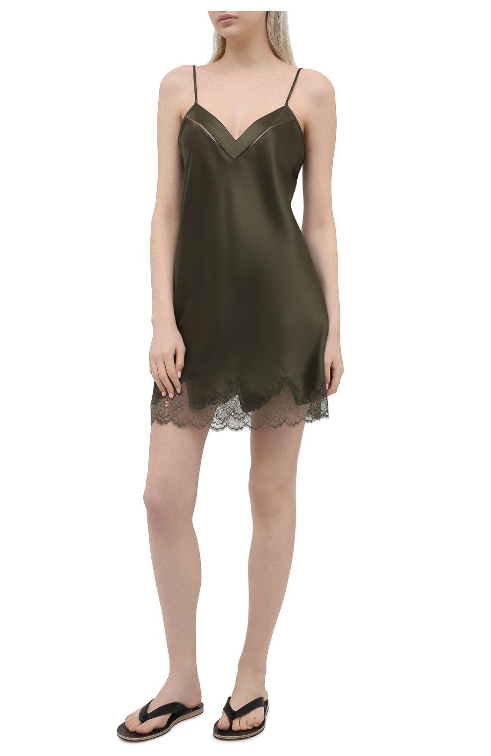 Женская шелковая сорочка SIMONEPERELE хаки цвета, арт. 17F940 | Фото 2