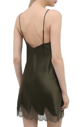 Женская шелковая сорочка SIMONEPERELE хаки цвета, арт. 17F940 | Фото 4