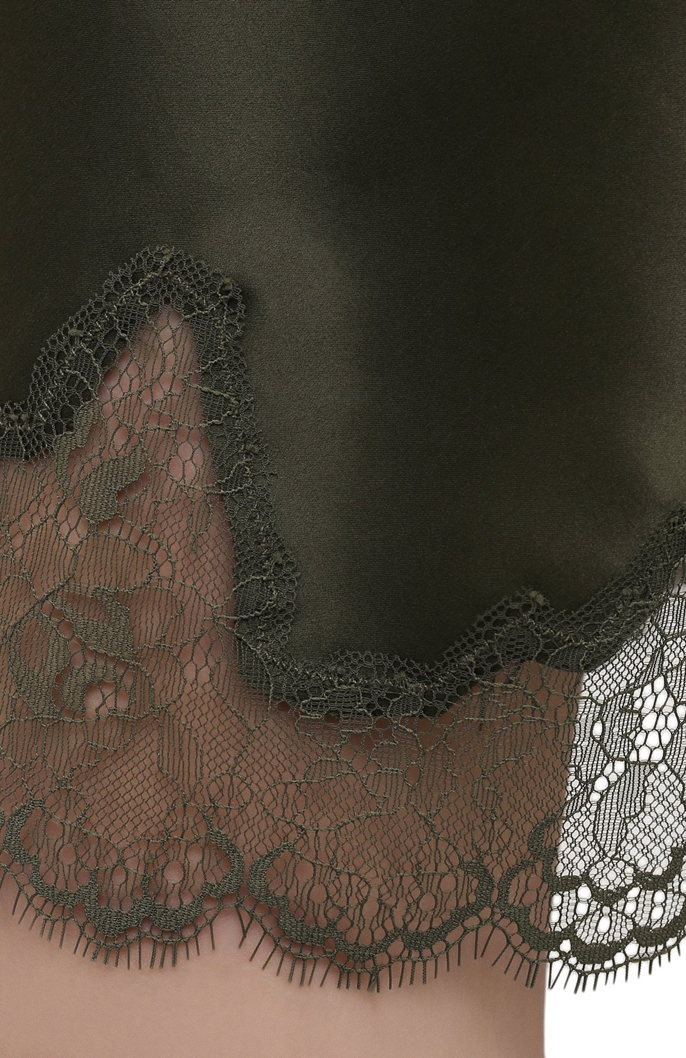 Женская шелковая сорочка SIMONEPERELE хаки цвета, арт. 17F940 | Фото 5