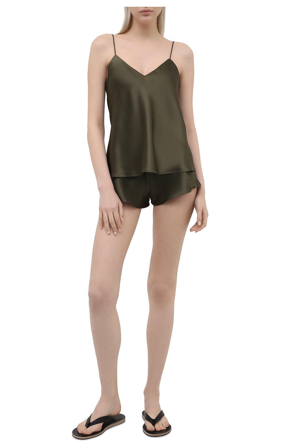 Женская шелковая пижама SIMONEPERELE хаки цвета, арт. 15B900-15B640 | Фото 1