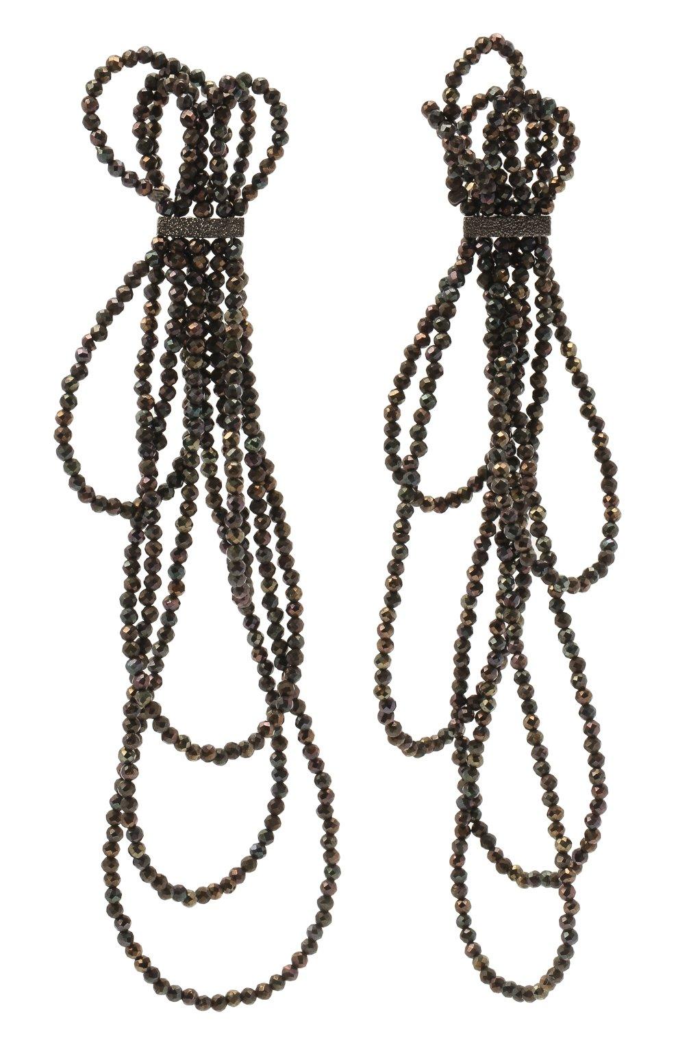 Женские серьги BRUNELLO CUCINELLI темно-серого цвета, арт. M0RW9LM47/M   Фото 1