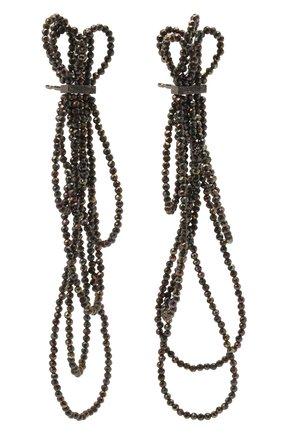 Женские серьги BRUNELLO CUCINELLI темно-серого цвета, арт. M0RW9LM47/M   Фото 3