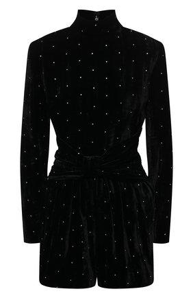 Женский бархатный комбинезон SAINT LAURENT черного цвета, арт. 644606/Y130R | Фото 1