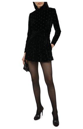 Женский бархатный комбинезон SAINT LAURENT черного цвета, арт. 644606/Y130R | Фото 2