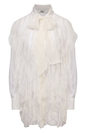 Женская шелковая блузка VALENTINO кремвого цвета, арт. VB0AB2F02UP   Фото 1