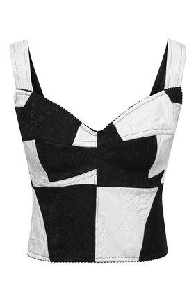 Женский топ-бюстье DOLCE & GABBANA черно-белого цвета, арт. F7W98T/GDX76 | Фото 1