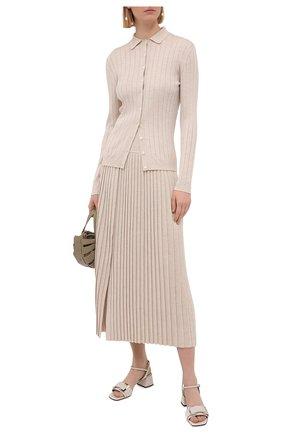 Женские кожаные босоножки SERGIO ROSSI светло-серого цвета, арт. A89040-MVIV01 | Фото 2