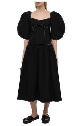 Женское хлопковое платье REJINA PYO черного цвета, арт. F317/0RGANIC C0TT0N | Фото 2