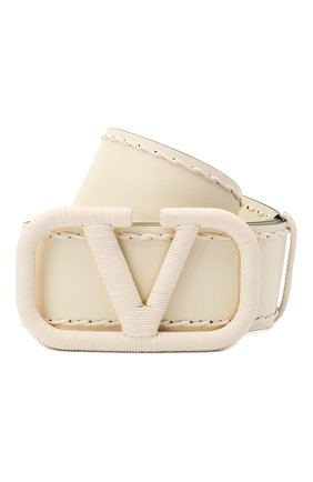 Женский кожаный ремень VALENTINO кремвого цвета, арт. VW2T0S10/HEW | Фото 1 (Материал: Кожа)