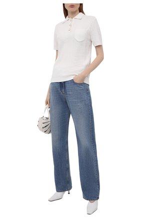 Женское хлопковое поло CASABLANCA белого цвета, арт. WS21-KW-069 WHITE | Фото 2