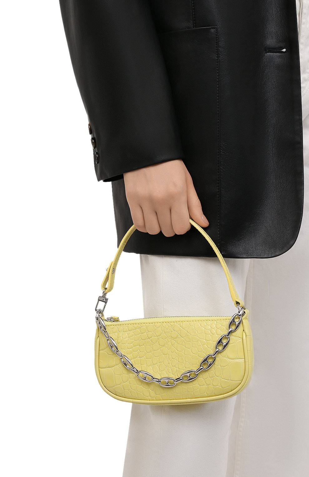 Женская сумка rachel mini BY FAR желтого цвета, арт. 21CRMIRACUSDSMA   Фото 2 (Сумки-технические: Сумки top-handle; Материал: Натуральная кожа; Размер: mini)