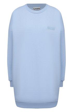 Женский хлопковый свитшот GANNI голубого цвета, арт. T2922 | Фото 1